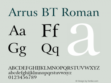 Arrus BT Roman mfgpctt-v1.57 Friday, February 19, 1993 3:09:51 pm (EST) Font Sample