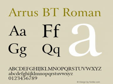 Arrus BT Roman Version 2.001 mfgpctt 4.4 Font Sample