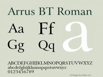 Arrus BT Roman Version 1.01 emb4-OT Font Sample