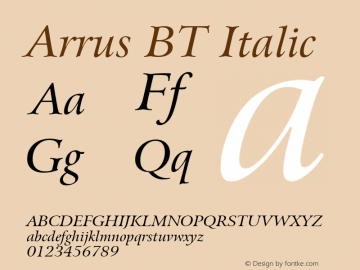 Arrus BT Italic Version 1.01 emb4-OT Font Sample