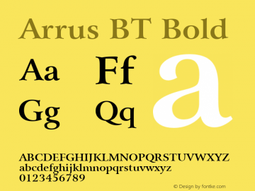 Arrus BT Bold Version 1.01 emb4-OT Font Sample