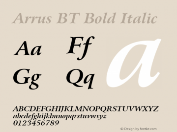 Arrus BT Bold Italic Version 1.01 emb4-OT Font Sample
