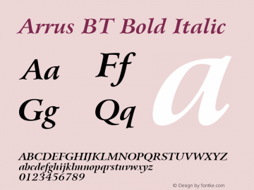 Arrus BT Bold Italic mfgpctt-v1.57 Friday, February 19, 1993 3:20:17 pm (EST) Font Sample