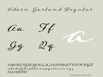 Adorn Garland Regular Version 1.000 Font Sample