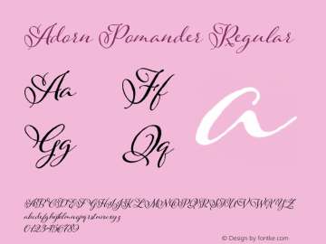 Adorn Pomander Regular Version 1.000 Font Sample