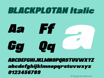 BLACKPLOTAN Italic Version 1.00 June 13, 2014, initial release图片样张