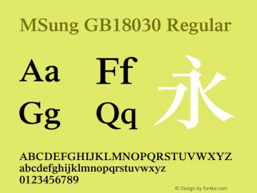 MSung GB18030 Regular Version 3.02 Font Sample