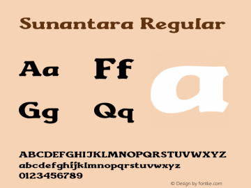 Sunantara Regular Version 1.00 July 19, 2014, initial release图片样张