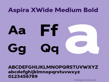 Aspira XWide Medium Bold Version 1.05          UltraPrecision Font图片样张
