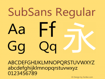 SubSans Regular 20140805 Font Sample
