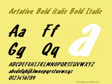 Artative Bold italic Bold Italic Version 1.000图片样张