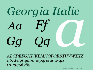 Georgia Italic Version 5.00x图片样张