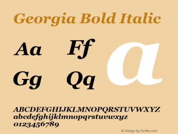 Georgia Bold Italic Version 5.50图片样张