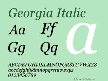 Georgia Italic Version 6.01图片样张