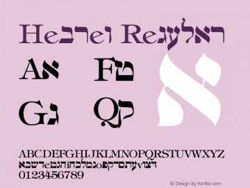 Hebrew Regular Converted from C:\TEMPAREA\HEBREW2.TF1 by ALLTYPE Font Sample