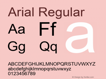 Arial Regular Version 2.76 Font Sample