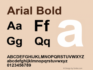 Arial Bold Version 2.40 Font Sample