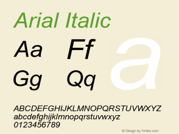 Arial Italic Version 2.82 Font Sample