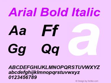 Arial Bold Italic Version 2.82 Font Sample