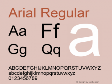 Arial Regular Version 2.50 Font Sample