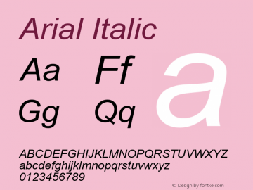 Arial Italic Version 2.45 Font Sample
