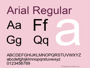 Arial Regular Version 2.45 Font Sample