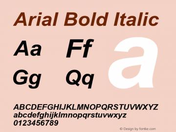Arial Bold Italic Version 2.45 Font Sample