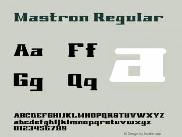 Mastron Regular Version 1.000 Font Sample