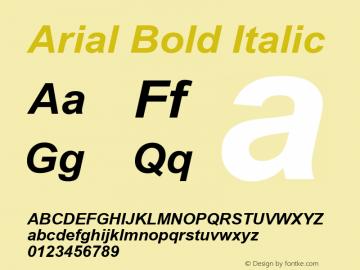 Arial Bold Italic Version 2.76 Font Sample