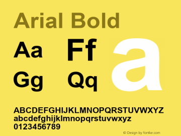 Arial Bold Version 2.55 Font Sample