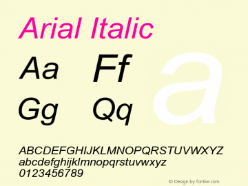 Arial Italic Version 2.55 Font Sample