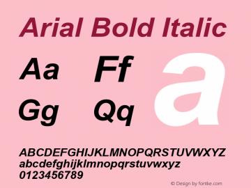 Arial Bold Italic Version 2.55 Font Sample