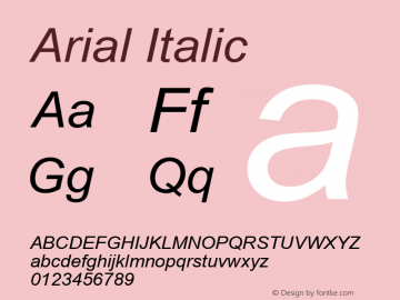 Arial Italic Version 2.50 Font Sample