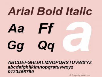 Arial Bold Italic Version 2.50 Font Sample