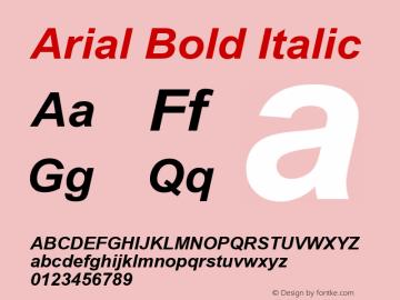 Arial Bold Italic Version 2.90 Font Sample