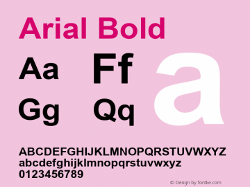Arial Bold Version 2.90 Font Sample