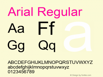 Arial Regular Version 2.98 Font Sample