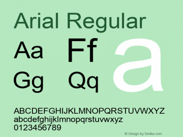 Arial Regular Version 3.12 Font Sample