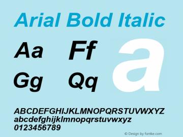Arial Bold Italic Version 3.12 Font Sample