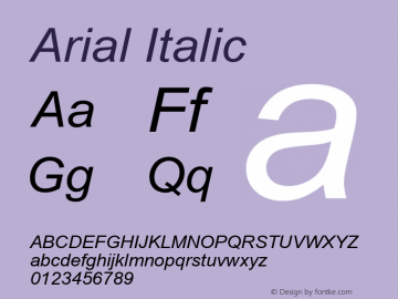 Arial Italic Version 3.12 Font Sample