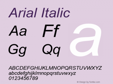 Arial Italic Version 5.00 Font Sample