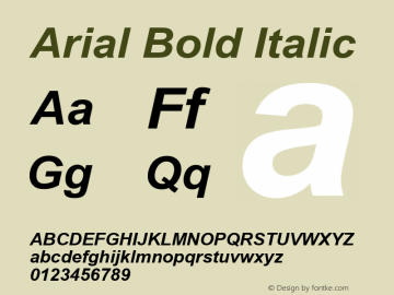 Arial Bold Italic Version 5.00 Font Sample