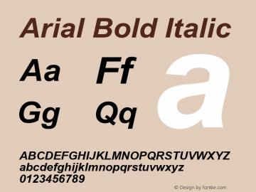 Arial Bold Italic Version 3.06 Font Sample