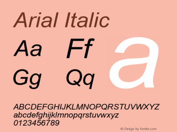 Arial Italic Version 5.00.2x Font Sample