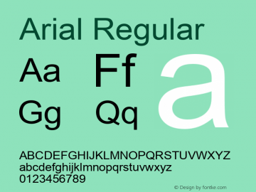 Arial Regular Version 5.06 Font Sample