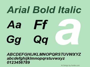 Arial Bold Italic Version 5.06 Font Sample