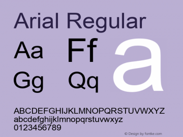 Arial Regular Version 2.95 Font Sample