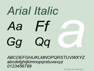 Arial Italic Version 2.90 Font Sample