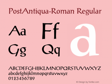 PostAntiqua-Roman Regular Unknown Font Sample