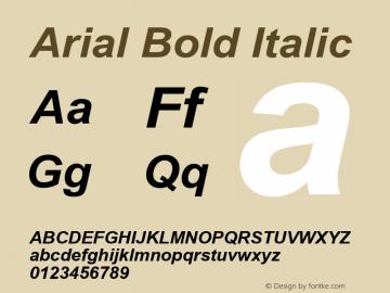 Arial Bold Italic Version 2.91 Font Sample